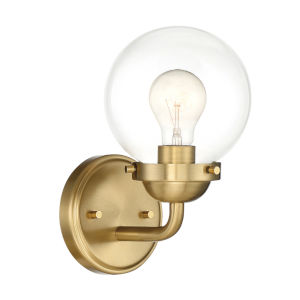 Knoll Brushed Gold One-Light Wall Sconce with Clear Glass