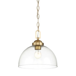 Knoll Brushed Gold One-Light Down Pendant with Clear Glass