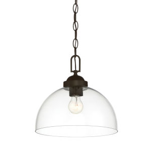 Knoll Oil Rubbed Bronze One-Light Down Pendant with Clear Glass