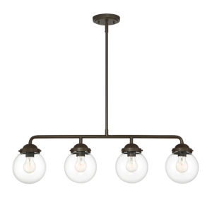 Knoll Oil Rubbed Bronze Four-Light Island Pendant with Clear Glass