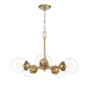 Knoll Brushed Gold Five-Light Chandelier with Clear Glass