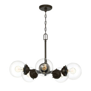 Knoll Oil Rubbed Bronze Five-Light Chandelier with Clear Glass