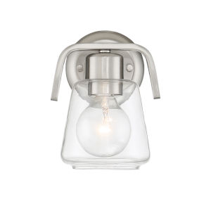 Riley Satin Platinum One-Light Wall Sconce with Clear Glass