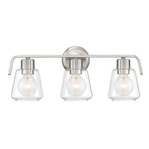 Riley Satin Platinum Three-Light Bath Vanity