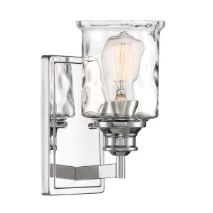 Drake Polished Nickel One-Light Wall Sconce with Clear Hammered Glass