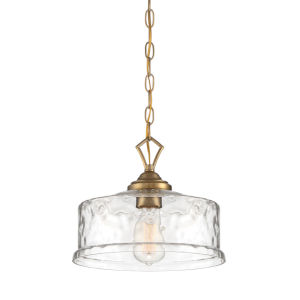 Drake Brushed Gold One-Light Down Pendant with Clear Hammered Glass