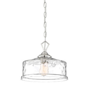 Drake Polished Nickel One-Light Down Pendant with Clear Hammered Glass
