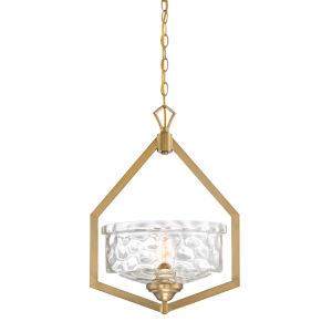 Drake Brushed Gold One-Light Foyer with Clear Hammered Glass