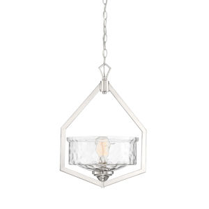 Drake Polished Nickel One-Light Foyer with Clear Hammered Glass