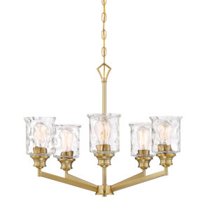Drake Brushed Gold Five-Light Chandelier with Clear Hammered Glass