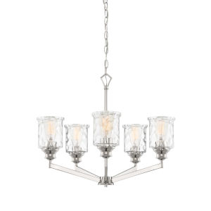 Drake Polished Nickel Five-Light Chandelier with Clear Hammered Glass