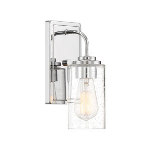 Logan Chrome One-Light Wall Sconce with Clear Seedy Glass
