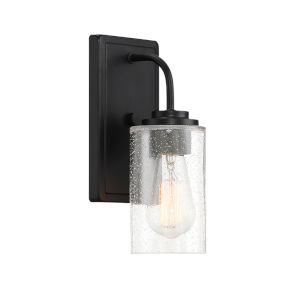 Logan Matte Black One-Light Wall Sconce with Clear Seedy Glass