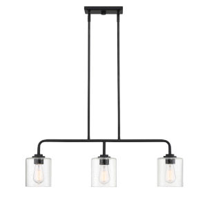 Logan Matte Black Three-Light Island Pendant with Clear Seedy Glass