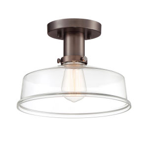 Carson Satin Copper Bronze One-Light Semi-Flush Mount with Clear Glass