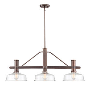 Carson Satin Copper Bronze Three-Light Island Pendant with Clear Glass
