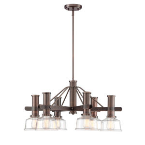 Carson Satin Copper Bronze Six-Light Chandelier with Clear Glass