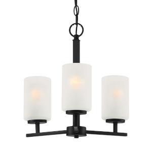 Carmine Matte Black Three-Light Chandelier