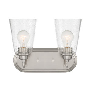 Zane Brushed Nickel Two-Light Bath Vanity
