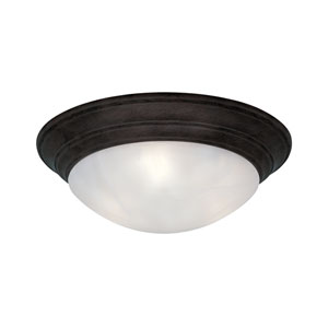 Lunar Oil Rubbed Bronze Two-Light Flush Mount with White Alabaster Textured Glass