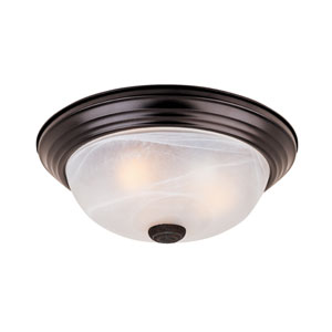 Oil Rubbed Bronze Three-Light Flush Mount with White Alabaster Glass