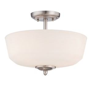 Darcy Brushed Nickel Three-Light Semi-Flush