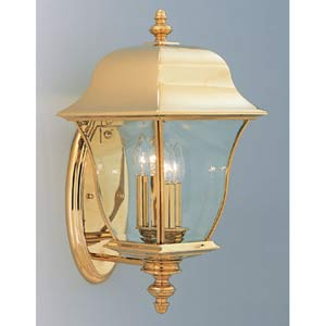 Gladiator Polished Brass Three-Light Outdoor Wall Mounted Light