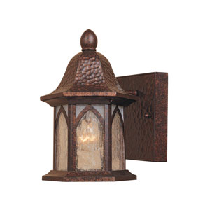 Berkshire Burnished Antique Copper One-Light Outdoor Wall Mount with Clear and Frosted Seedy Glass