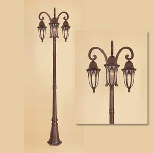Berkshire Burnished Antique Copper Three-Light Outdoor Post Light