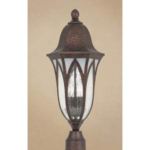 Berkshire Burnished Antique Copper Three-Light Outdoor Post Mounted Light
