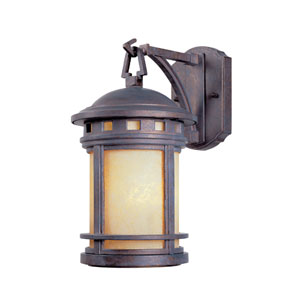 Sedona Mediterranean Patina One-Light Outdoor Wall Mount with Amber Glass
