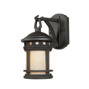 Sedona Oil Rubbed Bronze One-Light Outdoor Wall Mount with Amber Glass