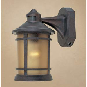Hanover Mediterranean Patina One-Light Outdoor Wall Mounted Light with Motion Sensor