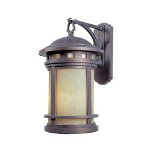 Sedona Mediterranean Patina Large Three-Light Outdoor Wall Lantern