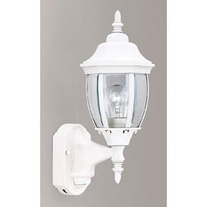 Motion Detectors White One-Light Outdoor Wall Mounted Light with Photocell