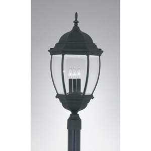 Tiverton Black Three-Light Outdoor Post Mounted Light
