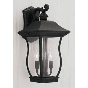 Chelsea Black Three-Light Outdoor Wall Mounted Light