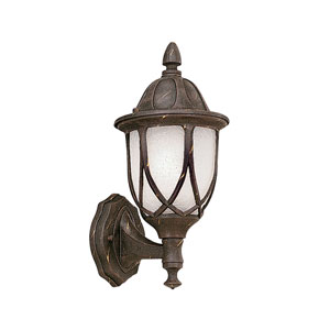 Capella Autumn Gold One-Light Outdoor Wall Mount with Satin Crackled Glass