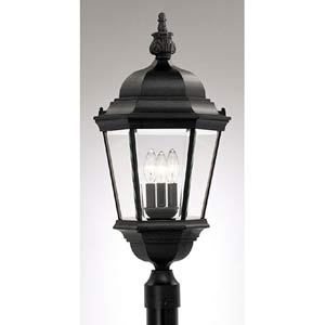 Abbington Black Three-Light Outdoor Post Mounted Light