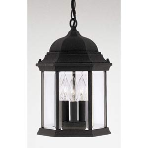 Devonshire Black Three-Light Outdoor Pendant