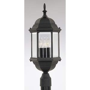 Devonshire Black Three-Light Outdoor Post Mounted Light