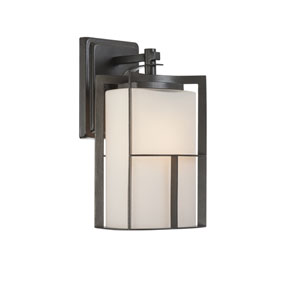 Braxton Charcoal One-Light Outdoor Wall Mount with Frosted Glass Painted White Inside