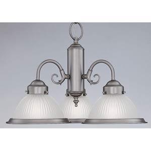 Prismatic Polished Brass Three-Light Chandelier