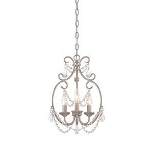 Dahlia Aged Platinum Three-Light Mini Chandelier
