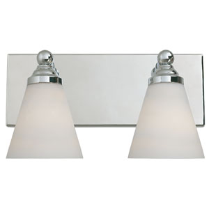 Hudson Chrome Two-Light Bath Fixture with White Opal Glass