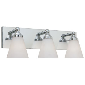 Hudson Chrome Three-Light Bath Fixture with White Opal Glass