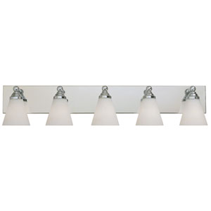 Hudson Chrome Five-Light Bath Fixture with White Opal Glass