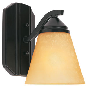 Piazza Oil Rubbed Bronze One-Light Bath Fixture with Goldenrod Glass