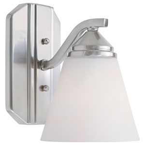 Piazza Satin Platinum One-Light Bath Fixture with Frosted White Glass