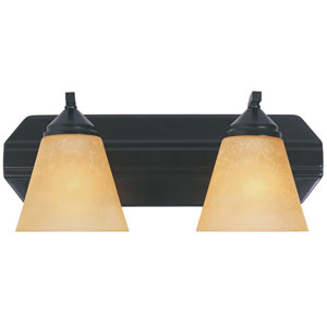 Piazza Oil Rubbed Bronze Two-Light Bath Fixture with Goldenrod Glass